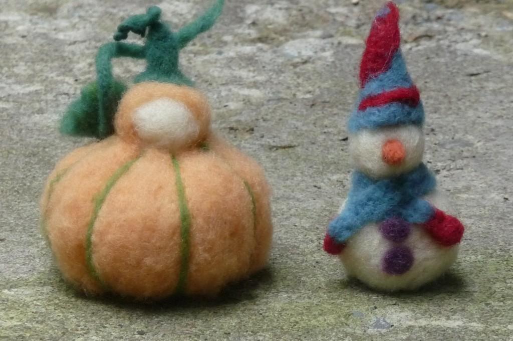 pumpkin + snowman