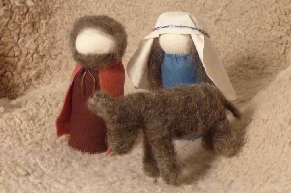 Joseph, Mary and the donkey