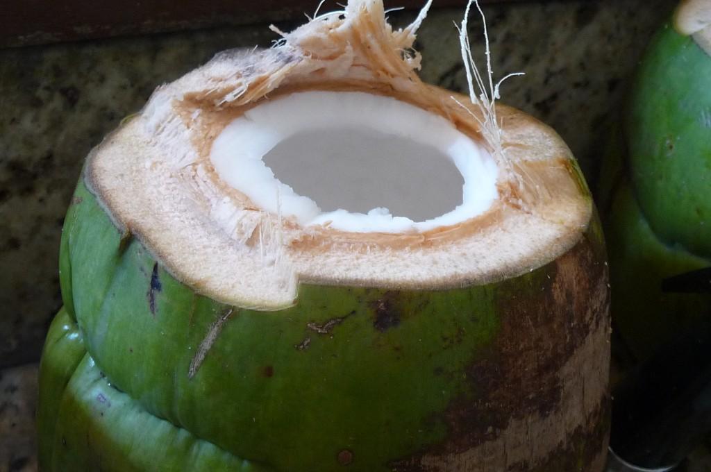 An open coconut