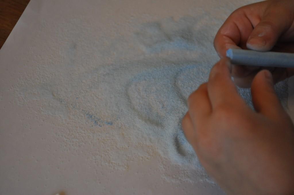 salt and coloured chalk